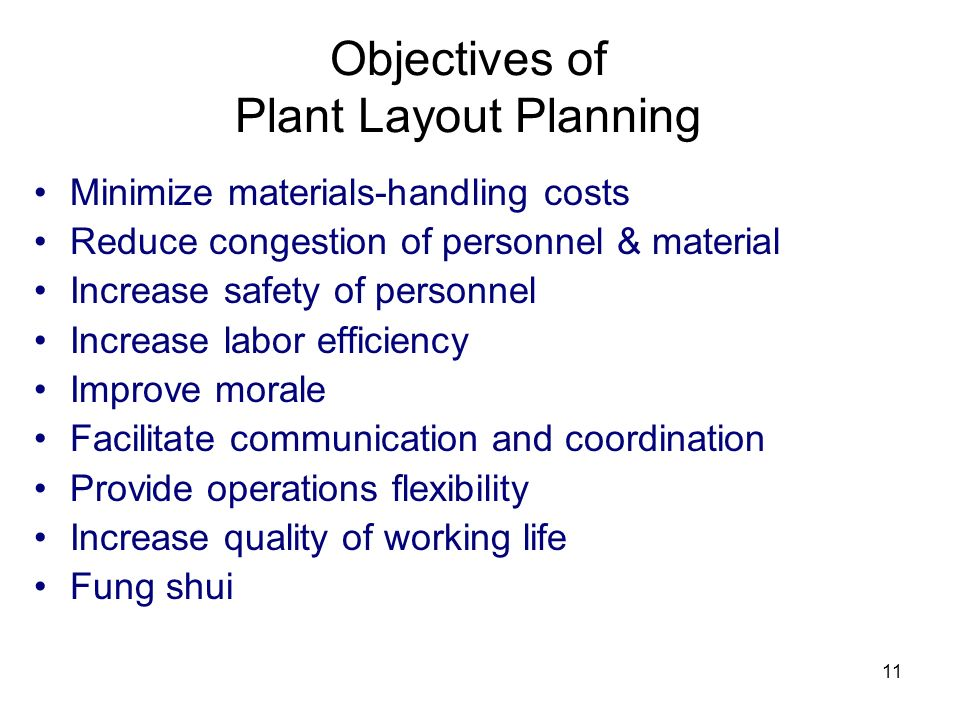 Objectives of Plant Layout Planning