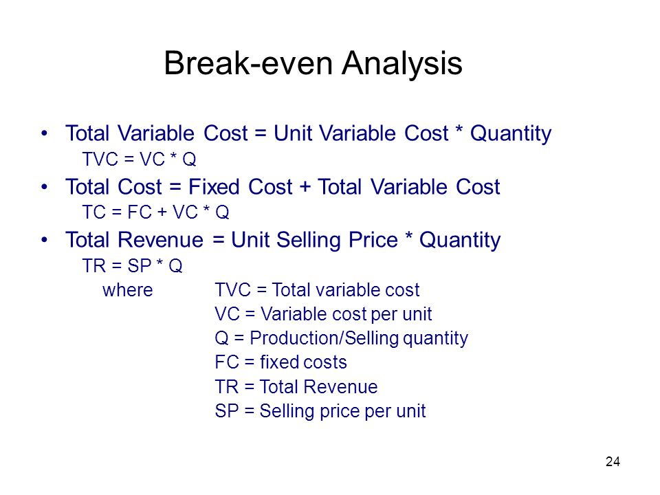 Break-even Analysis Total Variable Cost = Unit Variable Cost * Quantity. TVC = VC * Q. Total Cost = Fixed Cost + Total Variable Cost.