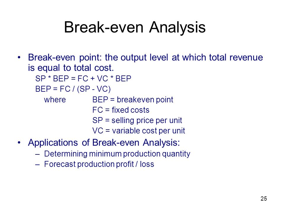 how to calculate total revenue at break even point