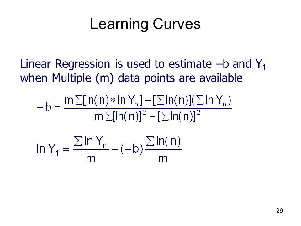 Learning Curves Linear Regression is used to estimate –b and Y1 when Multiple (m) data points are available.
