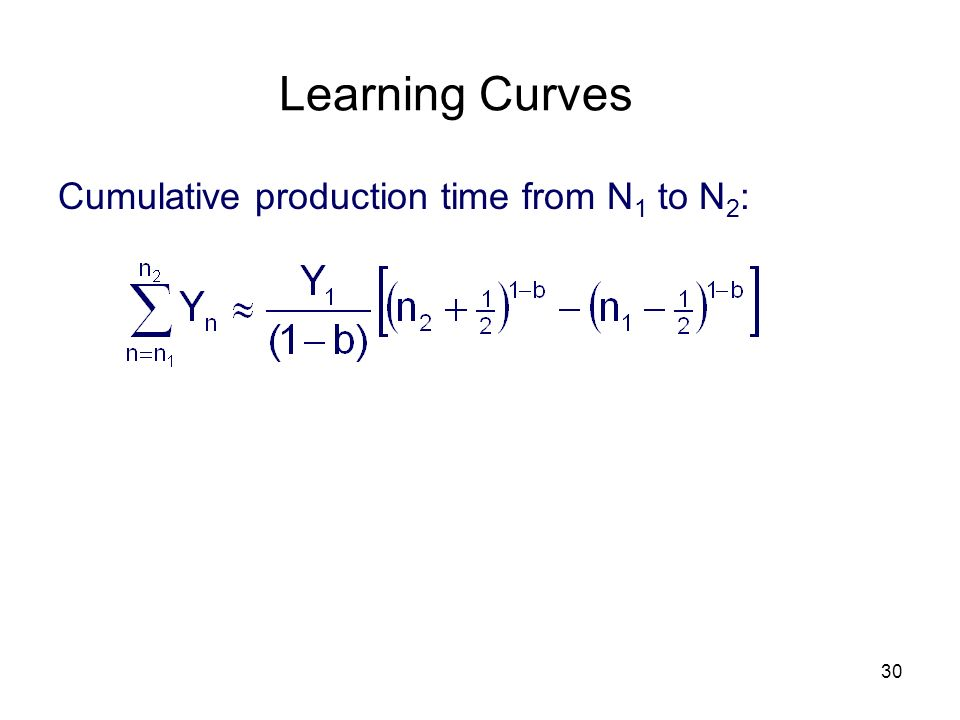 Learning Curves Cumulative production time from N1 to N2: