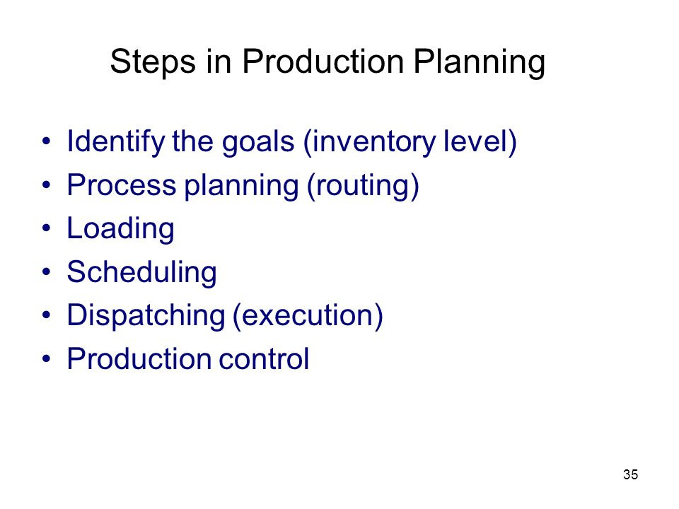 Steps in Production Planning
