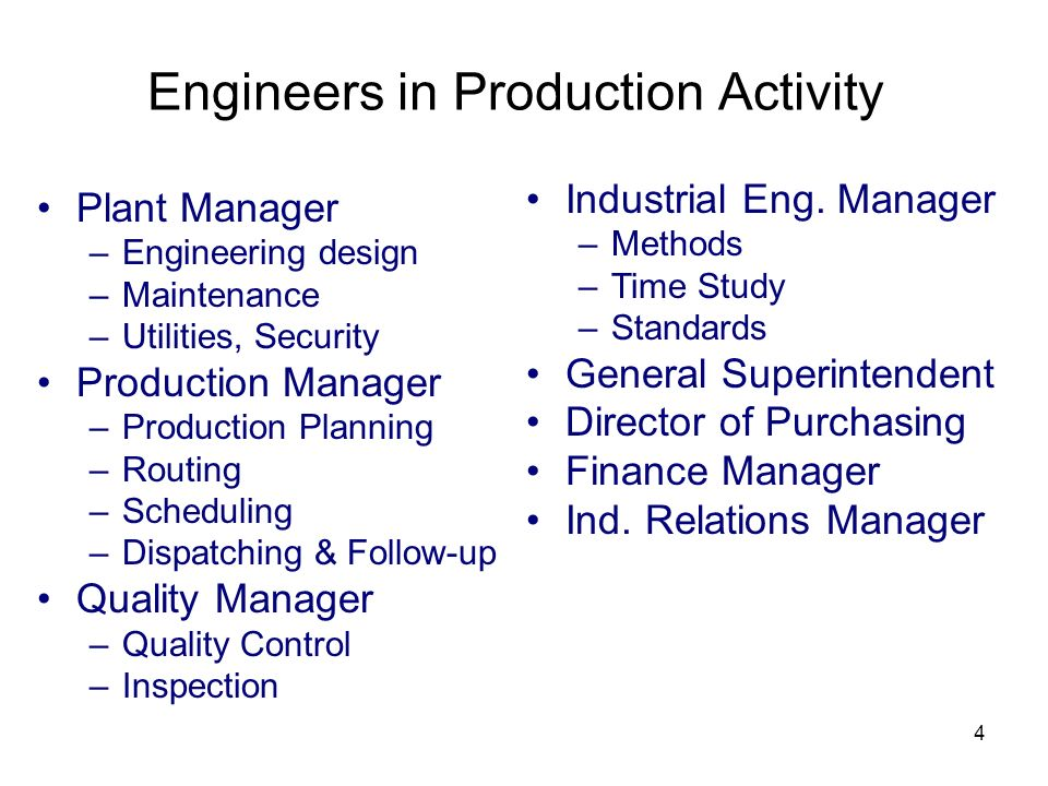 Engineers in Production Activity