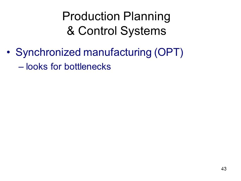 Production Planning & Control Systems