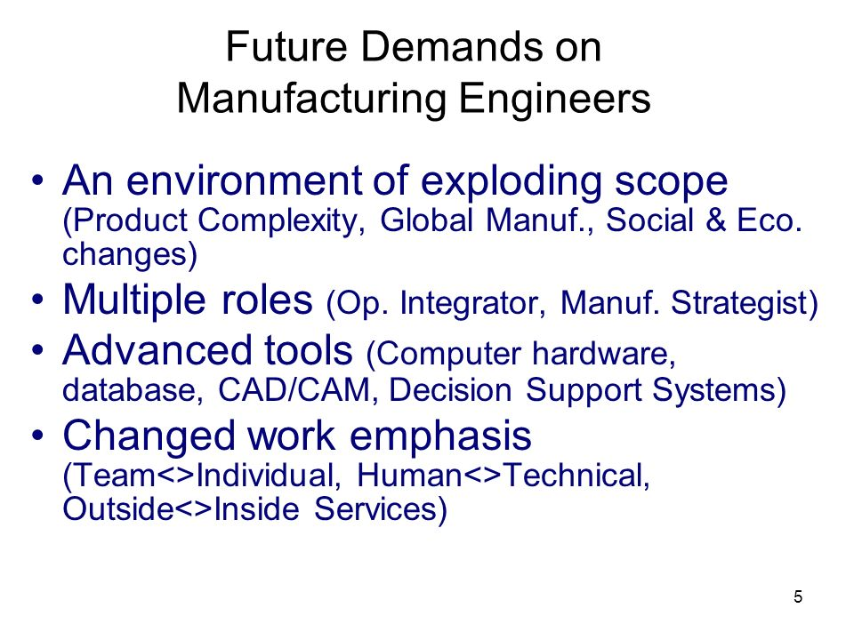 Future Demands on Manufacturing Engineers