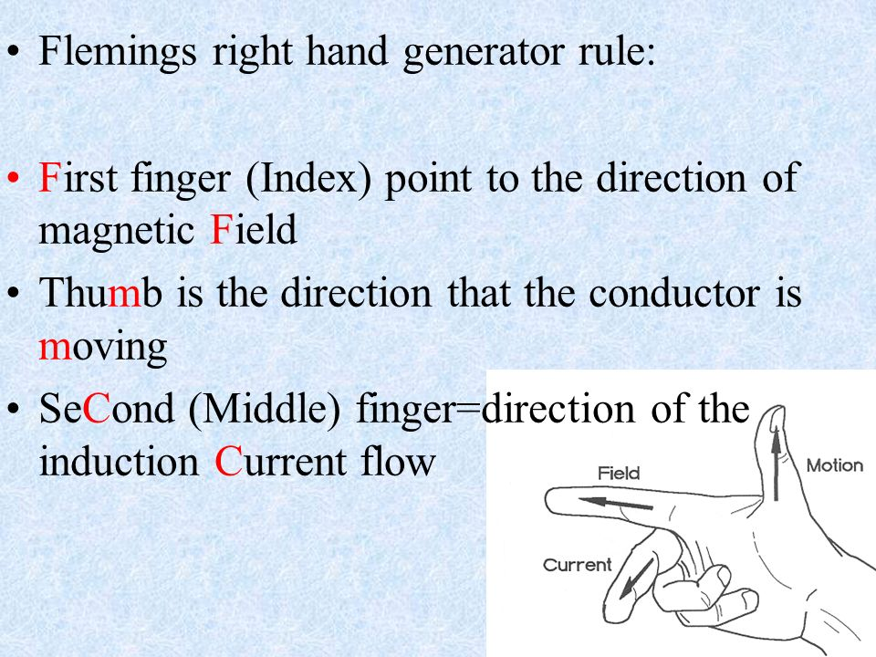 Flemings right hand generator rule: