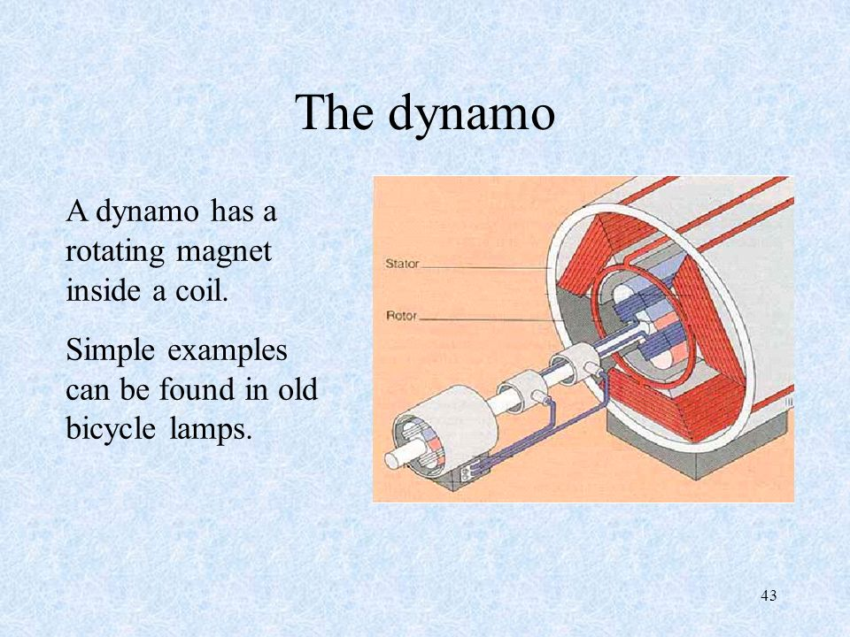 The dynamo A dynamo has a rotating magnet inside a coil.