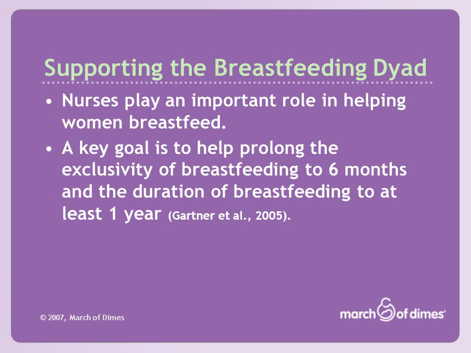 Supporting the Breastfeeding Dyad