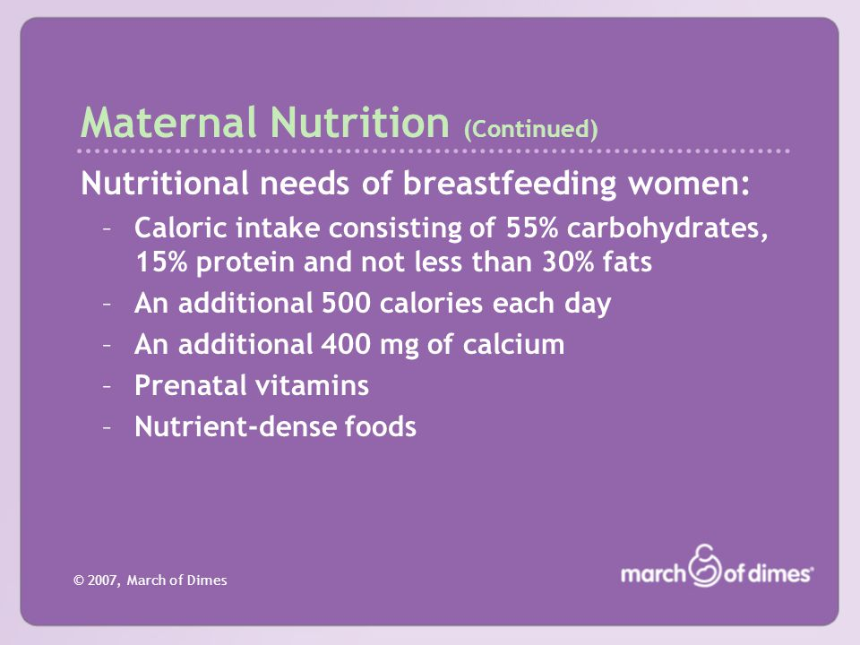 Maternal Nutrition (Continued)