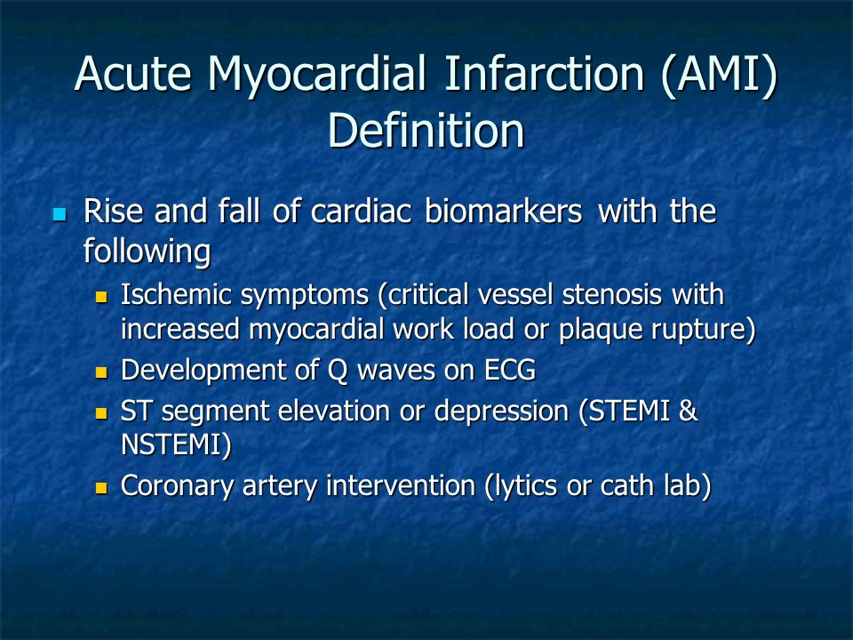 Acute Myocardial Infarction (AMI) Definition