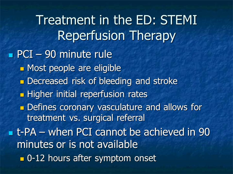 Treatment in the ED: STEMI Reperfusion Therapy