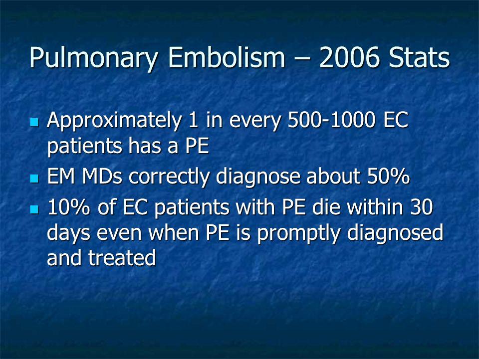 Pulmonary Embolism – 2006 Stats