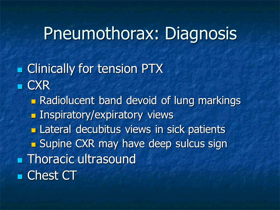 Pneumothorax: Diagnosis
