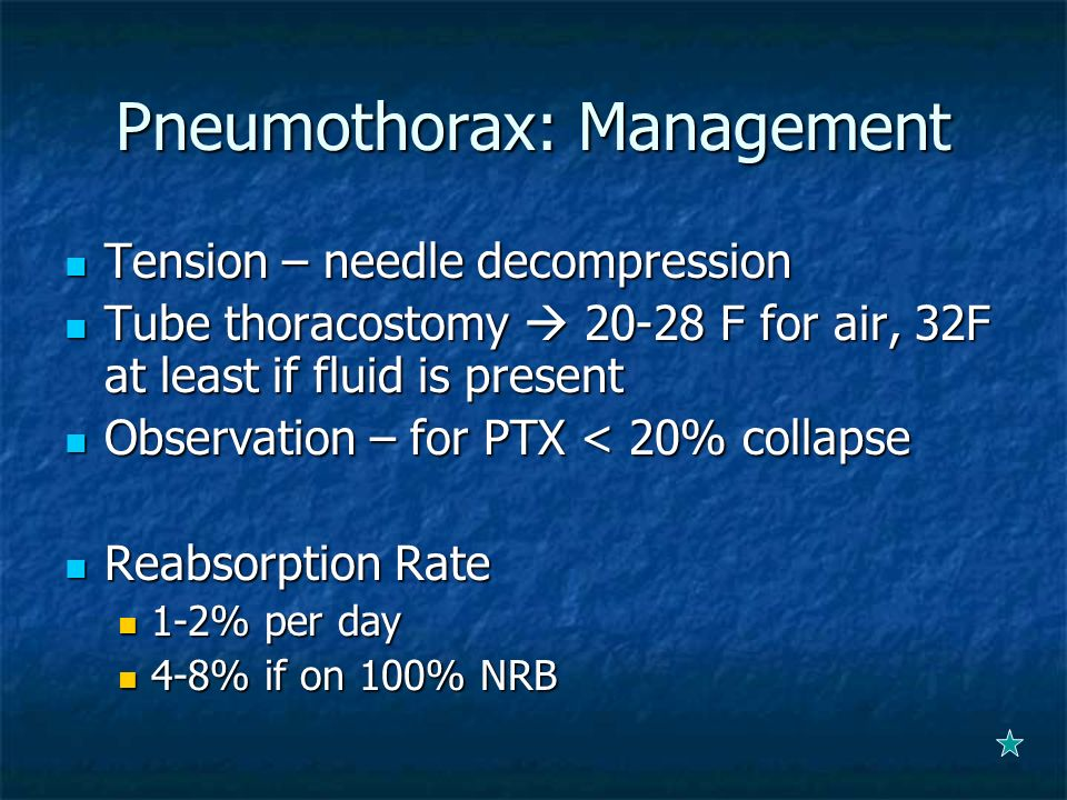 Pneumothorax: Management