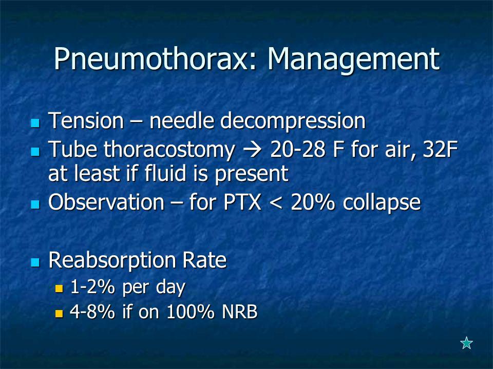Pneumothorax: Management