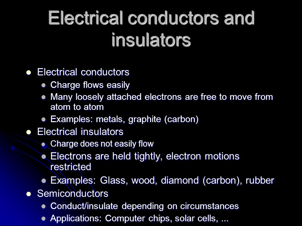Electrical conductors and insulators