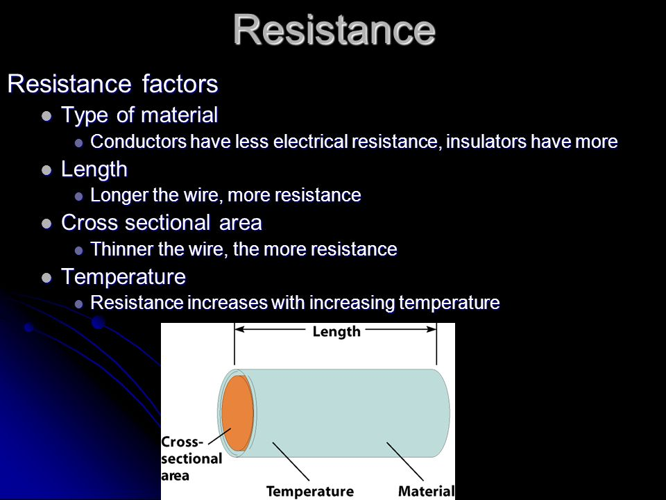 Resistance Resistance factors Type of material Length