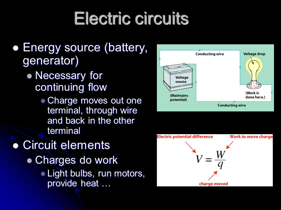 Electric circuits Energy source (battery, generator) Circuit elements