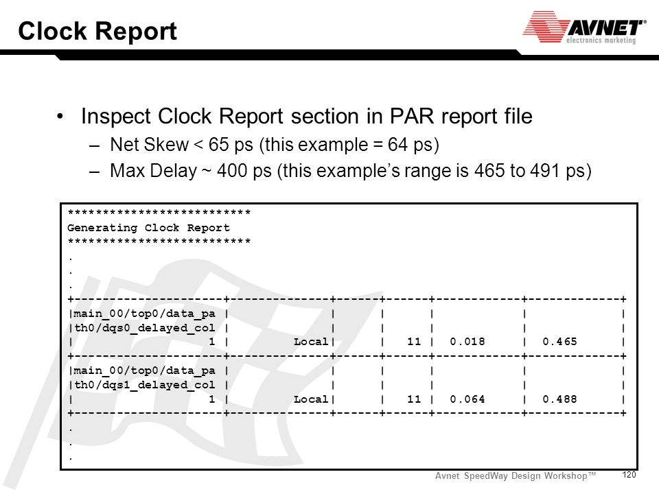 Clock Report Inspect Clock Report section in PAR report file