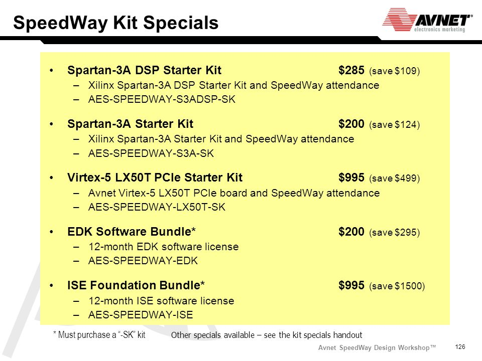 SpeedWay Kit Specials Spartan-3A DSP Starter Kit $285 (save $109)