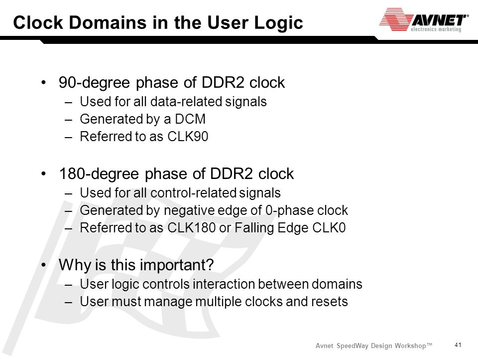 Clock Domains in the User Logic