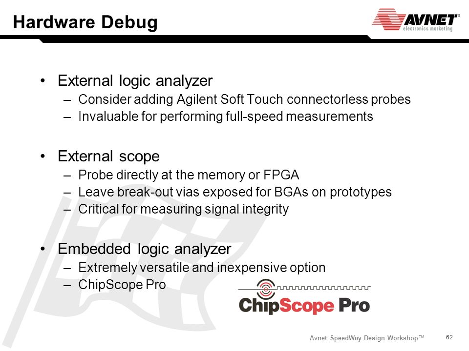 Hardware Debug External logic analyzer External scope