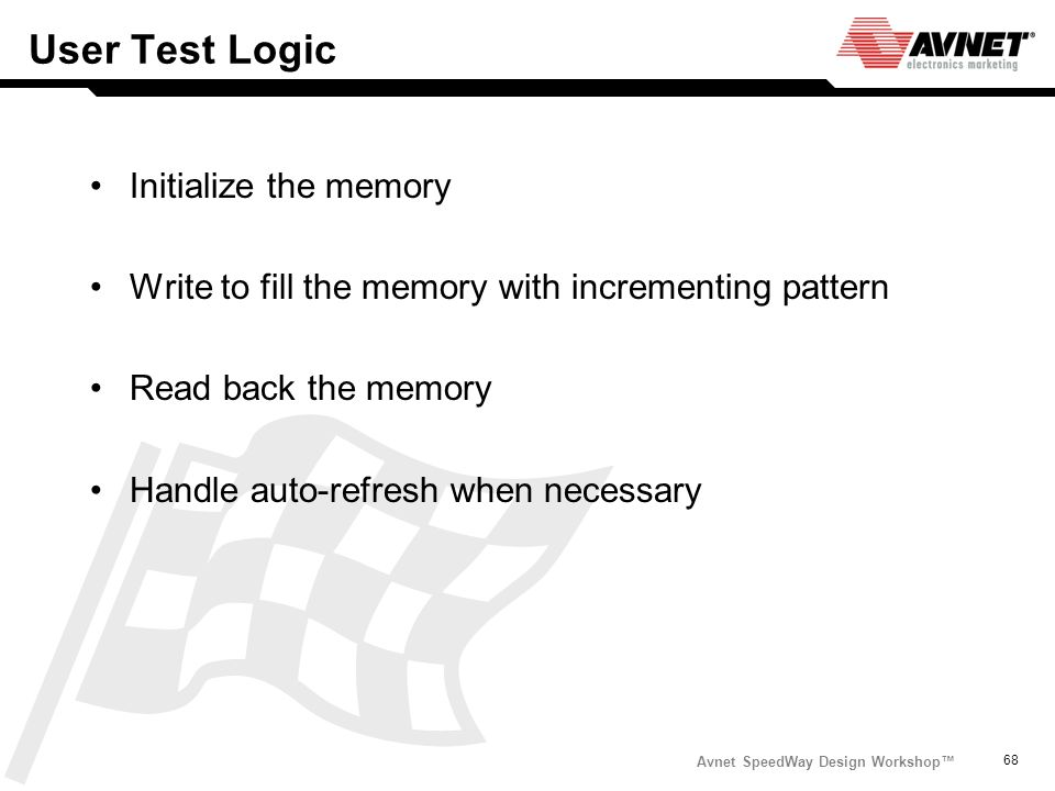User Test Logic Initialize the memory