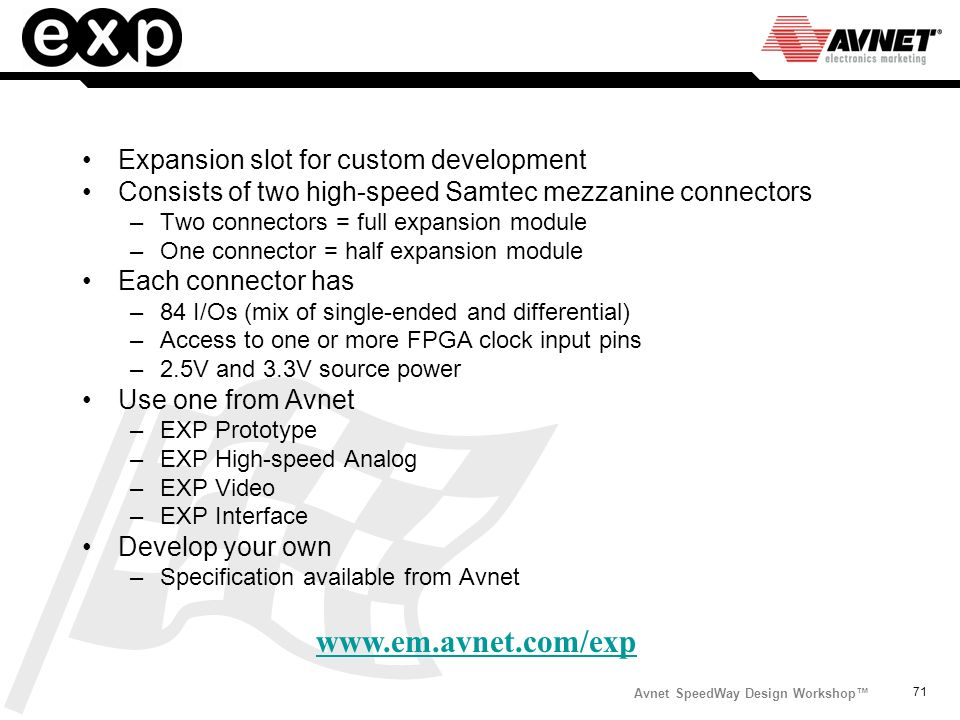 www.em.avnet.com/exp Expansion slot for custom development