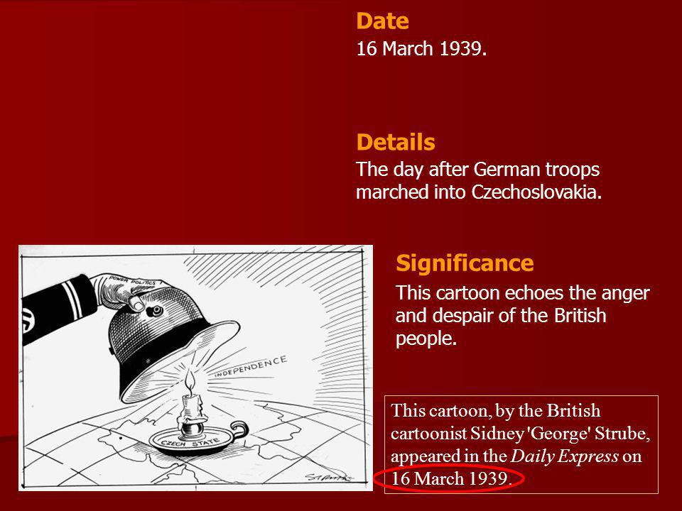 Date Details Significance 16 March 1939.