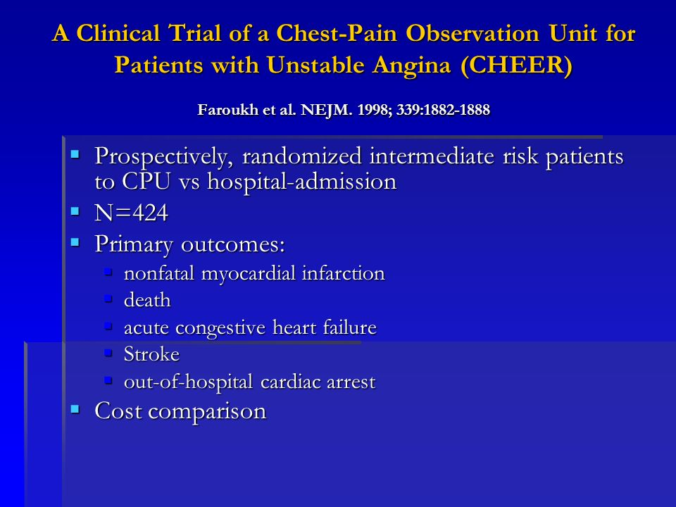 A Clinical Trial of a Chest-Pain Observation Unit for Patients with Unstable Angina (CHEER) Faroukh et al. NEJM. 1998; 339:1882-1888