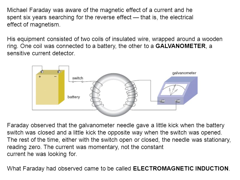 Michael Faraday was aware of the magnetic effect of a current and he