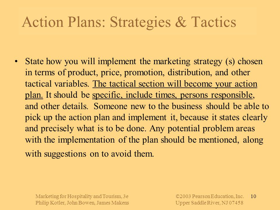 Action Plans: Strategies & Tactics