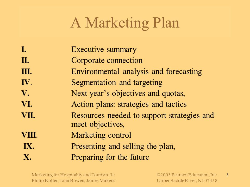 A Marketing Plan I. Executive summary II. Corporate connection