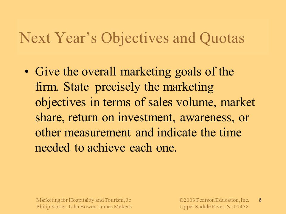 Next Year's Objectives and Quotas