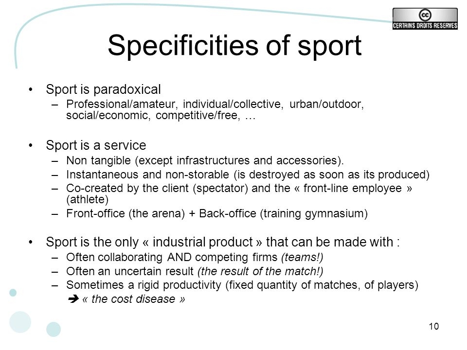 Specificities of sport