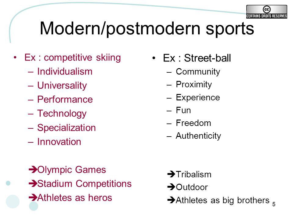 Modern/postmodern sports
