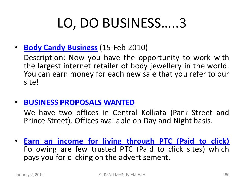 LO, DO BUSINESS…..3 Body Candy Business (15-Feb-2010)