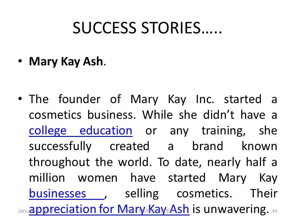 SUCCESS STORIES….. Mary Kay Ash.