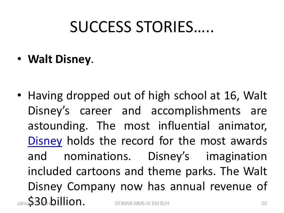 SUCCESS STORIES….. Walt Disney.