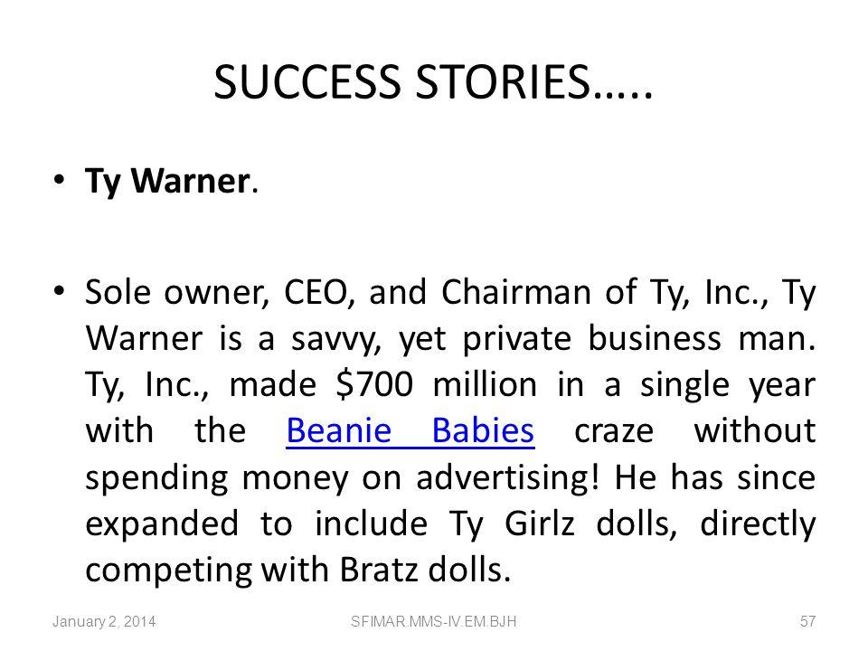 SUCCESS STORIES….. Ty Warner.