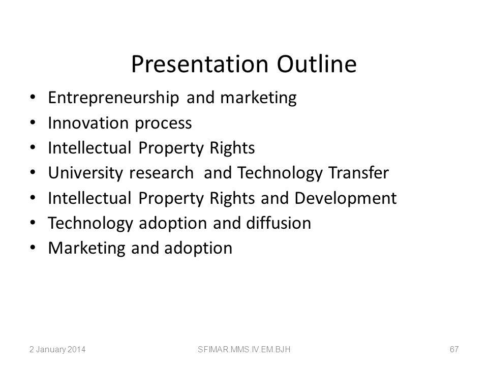 Presentation Outline Entrepreneurship and marketing Innovation process