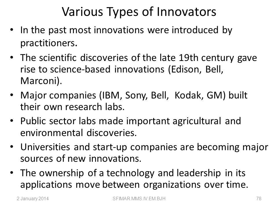Various Types of Innovators
