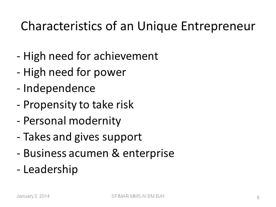 Characteristics of an Unique Entrepreneur