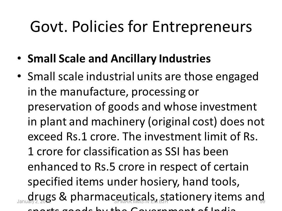 Govt. Policies for Entrepreneurs
