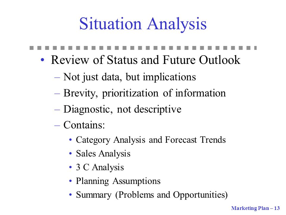 Situation Analysis Review of Status and Future Outlook