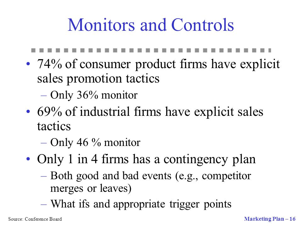 Monitors and Controls 74% of consumer product firms have explicit sales promotion tactics. Only 36% monitor.