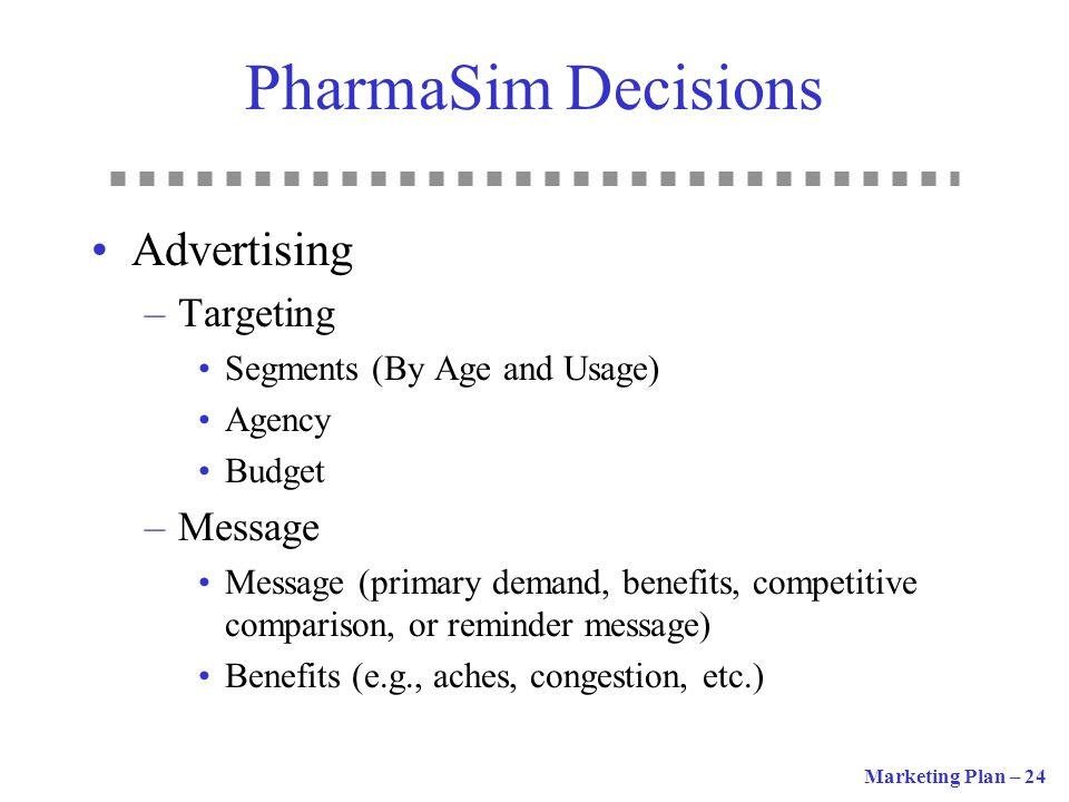 PharmaSim Decisions Advertising Targeting Message