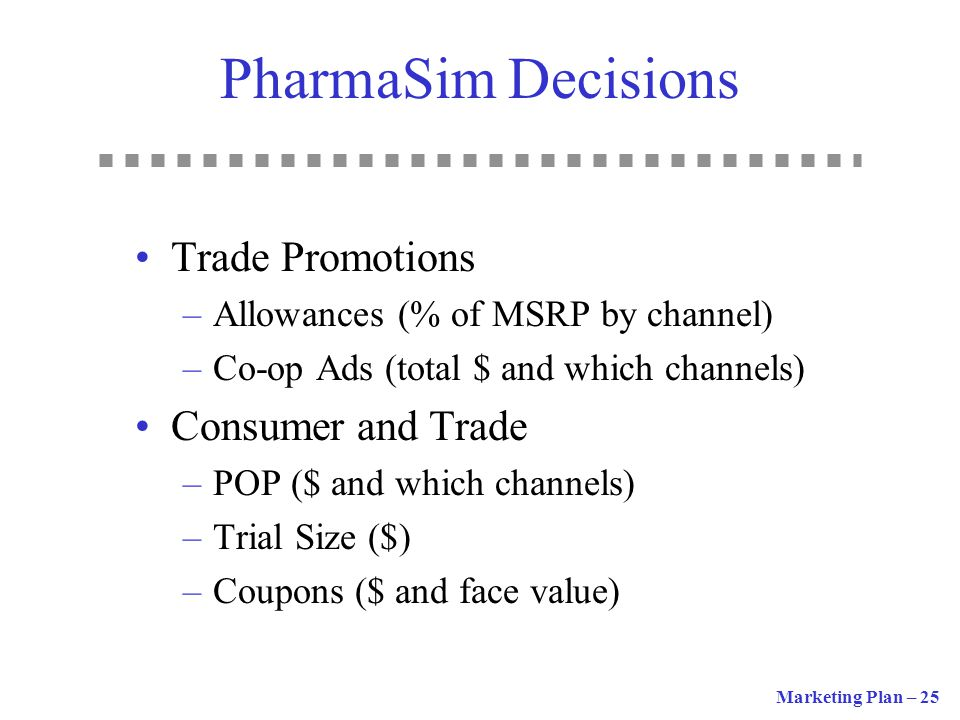 PharmaSim Decisions Trade Promotions Consumer and Trade