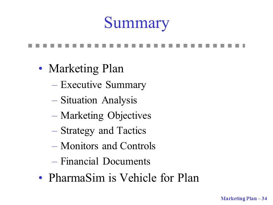 Summary Marketing Plan PharmaSim is Vehicle for Plan Executive Summary