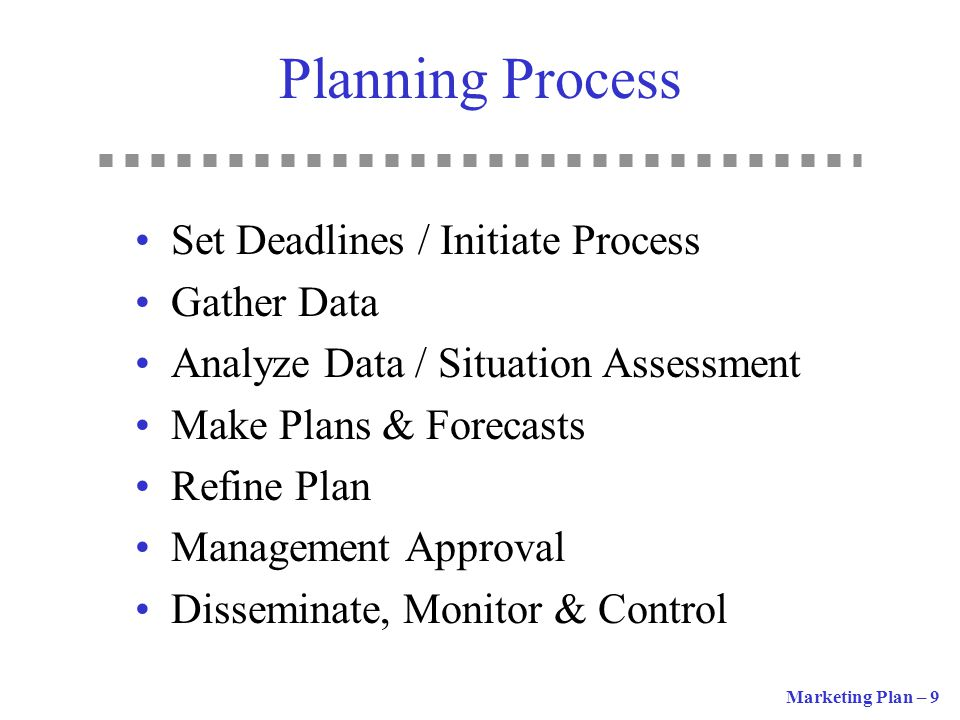 Planning Process Set Deadlines / Initiate Process Gather Data